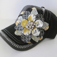 Trucker Baseball Cap Two Tone Black and Gray with Adorable Multi Colored Petal Flower and Rhinestone Accent Hats visors Accessories