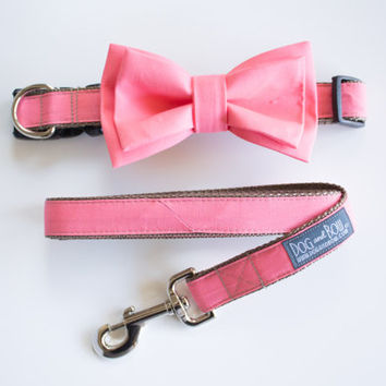 Coral Layered Bow Tie For Dogs With Collar with Optional Leash by Dog and Bow