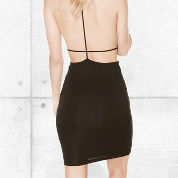 Open Back High Neck Dress