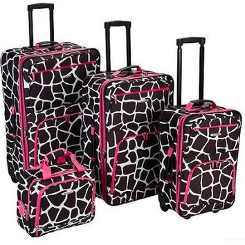 4 Piece Carry-On Travel Wheeled Rolling Expandable Suitcase Luggage Set Baggage Set