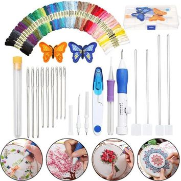 Cross Stitch Set Butterfly Magic Embroidery Pen Needle Punch Embroidery Set of Pen Tooling Crafts Including 50 Colors of Yarn