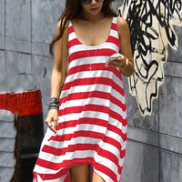 Striped Asymmetrical A-line Sleeveless Midi Dress