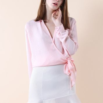 Relaxed Self-tie Wrapped Top in Pink