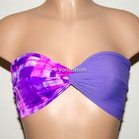 Tie Dye and Purplen Bandeau Top, Beach Bra Swimsuit Top, Rainbow Bikini Top Bandeau, Twisted Top Bathing Suits, Spandex Bikini