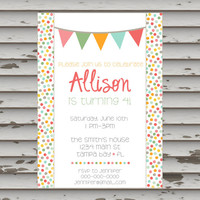Polka Dot Birthday Set - Printable - DIY - invitation - banner - food labels - straw flags - cupcake toppers - diy party set - girl birthday