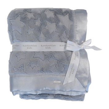Kardashian Kids Girls Grey Star Printed Faux Fur 30x40 Baby Blanket