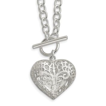 Sterling Silver Large Puffed Heart 18in Necklace QG2974