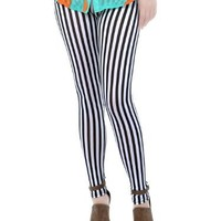 Anna-Kaci S/M Fit Black and White Cute Beetlejuice Stripe Cotton Skinny Leggings