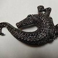 B.B. Simon Alligator Crystal Buckle