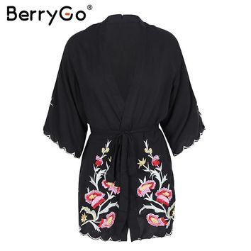 BerryGo Vintage Cardigan with  floral embroidery a kimono shirt chemise new  2018