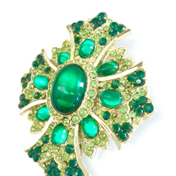 Green Maltese Cross Brooch, Emerald Green Glass Cabochons, Pave Peridot and Emerald Green Rhinestones, Gold Tone, Statement Brooch