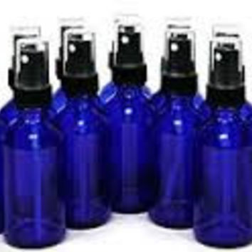The Oily Essentials 50ml Boston Round Glass Spray Bottle in Cobalt Blue (set of 6)