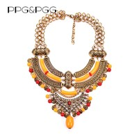 PPG&PGG Gypsy Bohemian Imitate Yellow statement pendants Collar choker steampunk maxi necklace for women jewelry