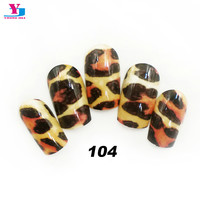 New Design Artificial False Nails Full Cover Sexy Leopard Product Fake Nails Faux Ongels With Glue Acrylic Nail Art Tips Beauty