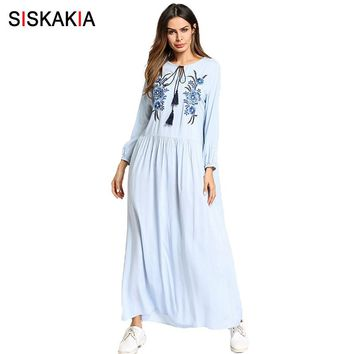 Siskakia Casual ethnic flower Embroidery long dress Spring Summer 2018 European and American maxi dresses light slim fit blue