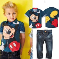 Boys Mickey Mouse Short Sleeve Button Up T-Shirt & Jeans Set