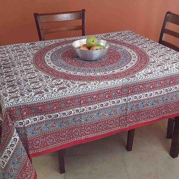 Handmade 100% Cotton Paisley Mandala Tapestry Tablecloth Spread 64x90 Red Grey