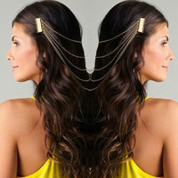 Hot Four Strand Hairpiece in Gold & Silver, Hair Chain, Head Chain, Headpiece, ASOS inspired