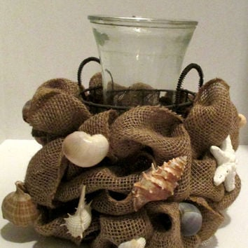 Seashell centerpiece, burlap centerpiece, burlap home decor, beach house decor