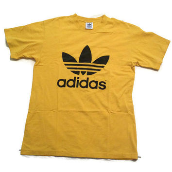 Early 90's Adidas T-shirt / Three Stripes / 1990's Trefoil Adidas Printed Tee Shirt / Yellow and Black / Vintage / Medium Med M