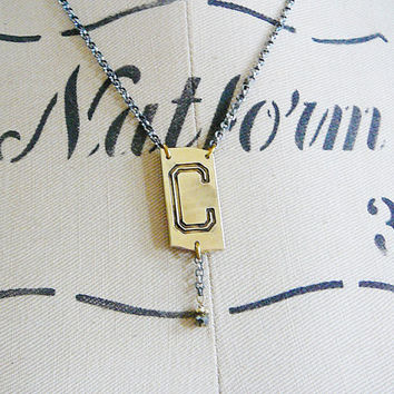 C Initial Pendant Necklace Sterling Oxidized Silver Chain antique letter monogram pyrite gemstone dangle