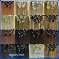 """15 Color 23""""58cm 120g 6pcs/set Synthetic Clip In Hair Extension Free Shipping"""