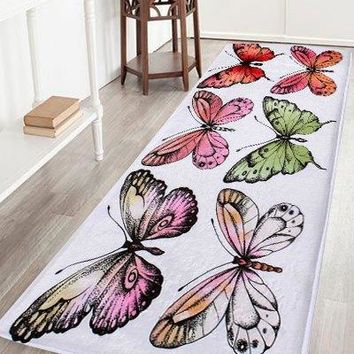 Butterfly Soft Coral Velvet Area Rug