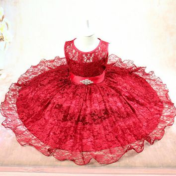 Children Casual Flower Girl Dresses for Weddings Cute Design Princess Lace Tutu Teenager Prom Gown Costume Sleeveless Clothing