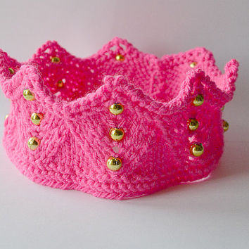 Pointy hot pink crown,headband,  Knitted hand-made, ear warmer for queen, king, prince and princess,gift for christmas,birthday