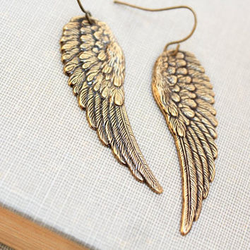 Long Wing Earrings Antique Gold Brass Angel Wings Cherub Faerie Fairy Wings Bird Long Dangle Earrings Mythical Romantic Jewelry