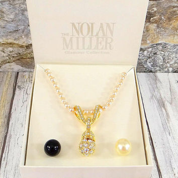 Nolan Miller Glamour Collection Faux Pearl Necklace with Interchangable Pendants