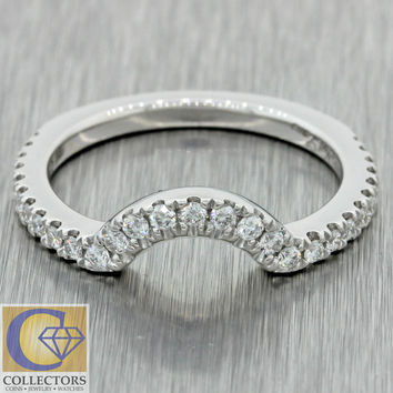 Modern Neil Lane 14k Solid White Gold .60ctw Diamond Curved Wedding Band Ring