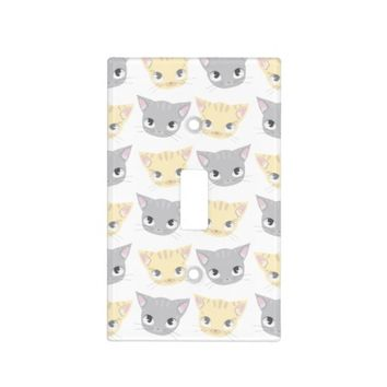 Cute Kitten Face Pattern Light Switch Cover