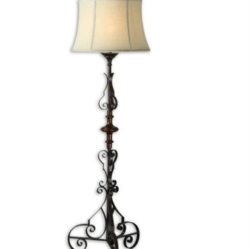 Scrolled Floor Lamp - Dark Bronze Body With Mahogany Finish, Gold Tones And Solid Wood Details