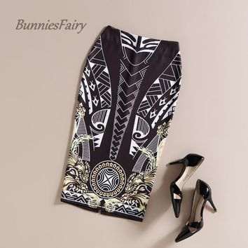 BunniesFairy 2017 Spring New Women Chic Fashion Black Geometric Print High Waist Long Pencil Skirts Slim Fit OL Office Work Wear