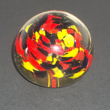 Hand Blown Glass Paperweight Color Explosion Design Vintage Collectible Piece