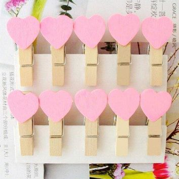 15packs/lot New pink color Heart Paper Clip Wooden Clip for wedding party Fashion Special Gift wholesale