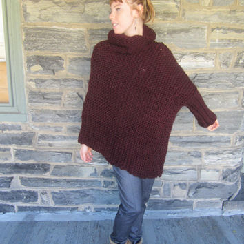 PONCHO, One arm poncho, Asymmetrical sweater, Knit Sweater, Burgundy Poncho, , One arm sweater,  one sleeve poncho, asymmetrical poncho