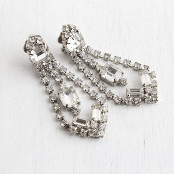 Vintage Rhinestone Chandelier Clip On Earrings - Silver Tone Faux Diamond Dangle Drop Costume Jewelry