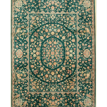 Hand-knotted Wool Green Traditional Oriental Pak-Persian Rug (9'2 x 12'6)