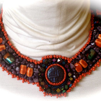 Bead Embroidered Collar, Necklace, Oriental Design Purple Bead, AB Crystals, Lamp Work Beads, Purple Nuggets