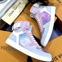 Free shipping-LV tide brand bright high female flat flat shoes