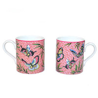 Vintage Butterfly Coffee Cups Pink Coffee Cup Chinese Butterfly Coffee Mugs Butterfly Chinoiserie Coffee Cups Set of 2 MMA Butterfly Cups