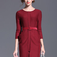Red Half Sleeve Drawstring Pockets Midi Pencil Slit Dress