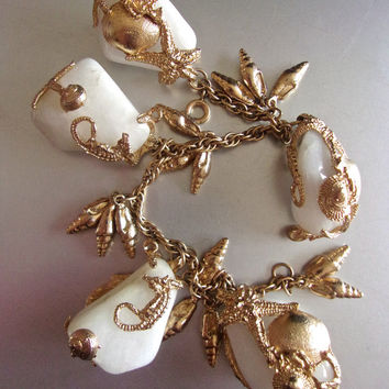 Gold Filled White Polished Stone Charm Bracelet, 12K GF, Chunky Sea Motif, Vintage