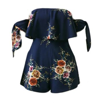 Streetstyle  Casual Off Shoulder Flounce Floral Printed Romper With Tie Sleeve