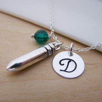 Silver Bullet Charm Swarovski Birthstone Initial Personalized Sterling Silver Necklace / Gift for Her
