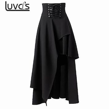 LUVCLS Vintage Skirt Women Steampunk Rock Clothing Party Lolita Skirts Womens Asymmetric Lace Up Bandage Long Skirt For Women