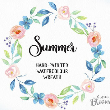 Watercolour Flower Wreath Clipart - Summer Hand Painted INSTANT Download - Pastel PNG & JPEG Pink Blue Flowers Digital Art Pretty Garland