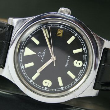 1978s OMEGA Geneve Winding Mens Vintage Watch Ref. 1360102 Black Radium Dial